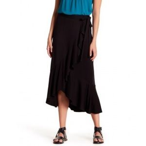 Max Studio black wrap mid level skirt